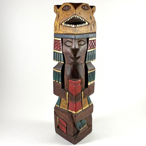 Vintage painted and carved wood Mayan Aztec totem